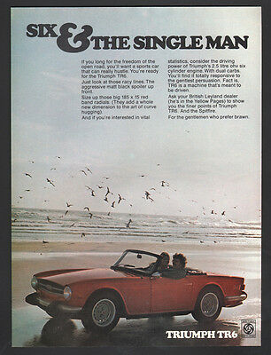 Awesome 1974 Triumph TR6 red Convertible ad Six & the single man advertisement