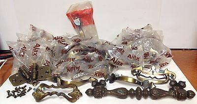 Vintage Ajax Brass Hardware Mixed Lot Hinges Chippendale Drawer Cabinet Pulls
