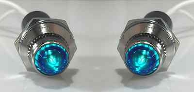 NEW Pilot Dash Indicator Warning Light Blue Pair 12V - Vintage Classic Hot Rod