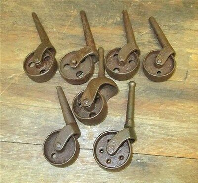 Lot 7 Caster Wheels Steel Industrial Age Furniture Roller Dresser Desk Vintage c