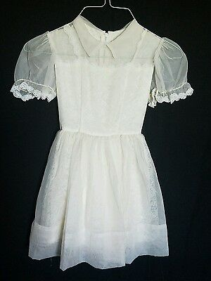 Vintage 50s Girls Dress Wedding Flower Girl ivory Party 4 to 5 yrs Lace