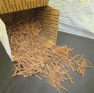 Over 17 Lbs Square Nails Vintage Furniture Cabinet Rusty Used Arts Crafts d