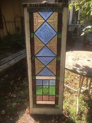 Vtg Church Stained Glass Window Architectural Salvage gothic 1800s Wedding deco