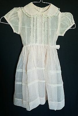 Vintage 50s Girls Dress Wedding Flower Girl Party polka dot Lace 4 to 5 yrs
