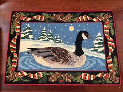 Claire Murray Rug Christmas Holiday Goose Vintage 100% Wool Hand Hooked NICE!