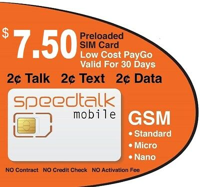 $7.50 Prepaid GSM SIM Card Preloaded 30 Day Service NO CONTRACT Preloaded