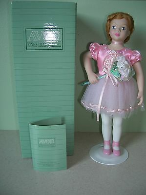 "Porcelain Ballerina doll Avon ""Ballet Recital"" 1991 approx 9 "" tall UEC in box"