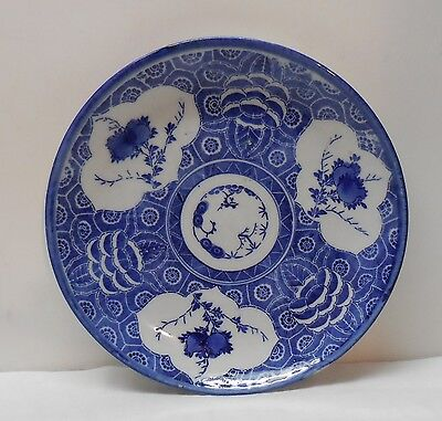 Blue and White Plate Blossom Designs and Flowers Along Bottom Side Vintage