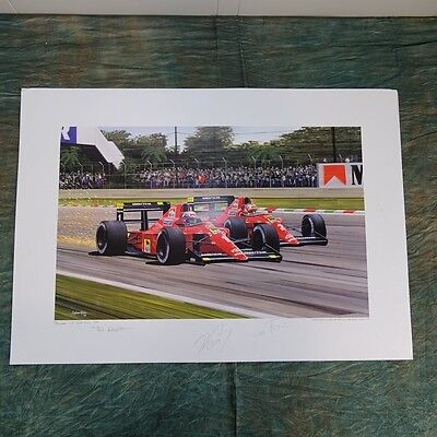 Ferrari Formula 1 Litho 30/400, 1990, unframed, Signed by Prost and Mansell