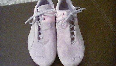 Ladies Girls Pink -Grey Puma Suede Trainers Size Uk 4