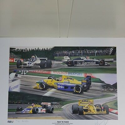 Nelson Piquet 200 Starts signed Formula 1 lithograph 1991, signed/numbered 932