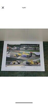 Nelson Piquet 200 Starts Formula 1 lithograph by AK, Signed, 1991, unframed