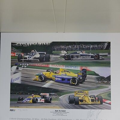 Nelson Piquet 200 Starts signed Formula 1 lithograph 1991, signed/numbered 934