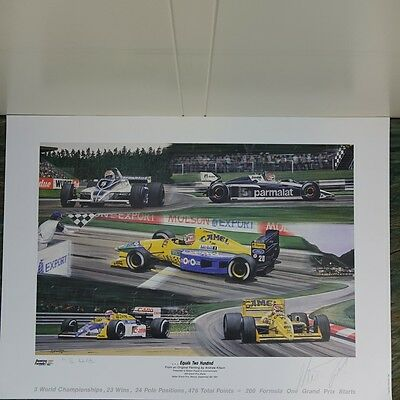 Nelson Piquet 200 Starts signed Formula 1 lithograph 1991, signed/numbered 936