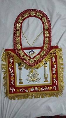 Hand Embroidery Masonic Past Master Apron With Matching Red Velvet