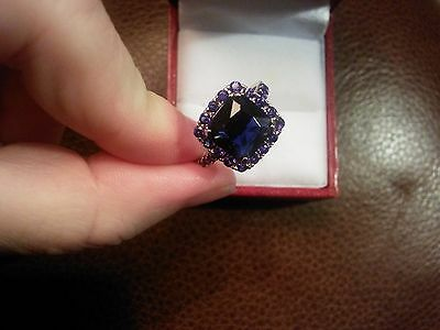 NEW BEAUTIFUL 3ct BLUE SAPPHIRE STERLING SILVER RING SURROUNDED BY TINY SAPPHIRE