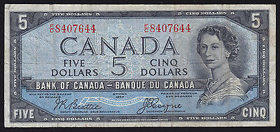 1954 Bank of Canada $5 Devil's Face Banknote - Beattie/Coyne Cat#BC-31b