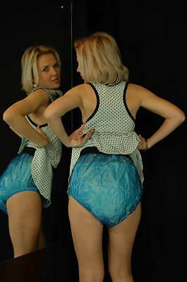 adult baby diaper blue pastic pull on diaper cover ABDL  large