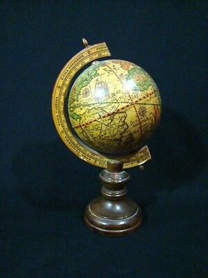 Rare vintage  old world tabletop terrestrial glove on wood stand