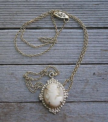 "Antique 18"" 12k GF Chain & Hand Carved Shell Cameo Pendant Necklace"