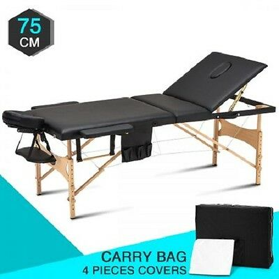 NEW 75cm Wooden 3 Fold Massage Therapy Beauty Table Bed Black, Adjustable Height