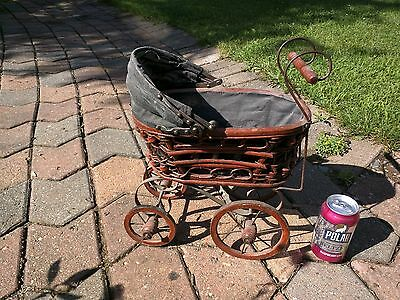 Vintage Baby Doll Carriage Stroller Original Canvas, Wicker and Wood Wheels Pram