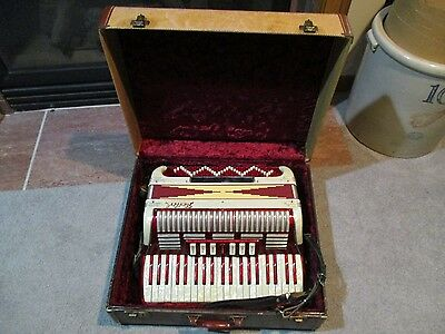 Vintage Fancy Pearled United Red Accordion Musical Instrument 120 Button