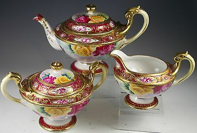 Teapot W Creamer & Covered Sugar Hand Painted Roses