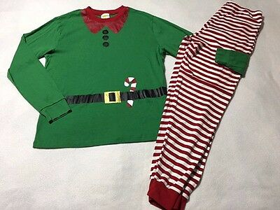 Crazy 8 Adult M Green Red Candy Cane Elf Pj Pajama Set Xmas Holiday Men Women