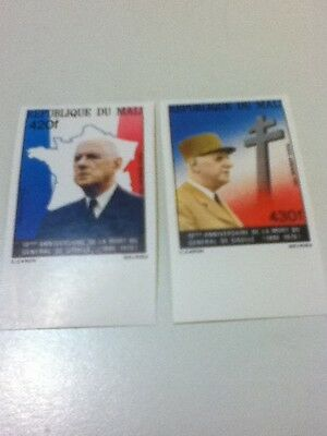 Imperforate Set Of 2 Degaulle Stamps Scott Cat # 403-4 MNH
