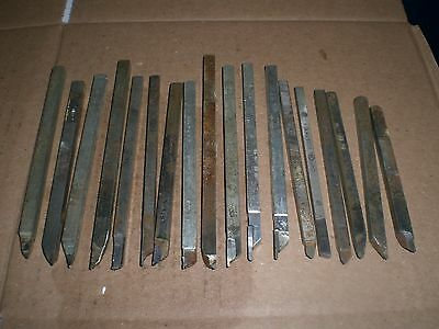 """lot of 18 swiss style lathe bits 1/4 shanks up to 6"""" long"""