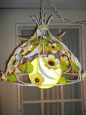 Vintage  Painted Metal Tole Whimsical Floral Swag Light Mid Century Mod,lovely