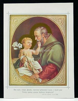 St. Joseph with Indulgence Religious Print Lithograph with Gold 1927 Polish Art