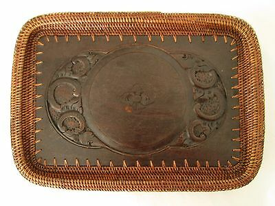 Asian Hand Carved Wood Serving Tea Tray with Rattan Dark Stain