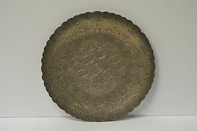 Egyptian 800 Silver Niello Chased decorative Writings Plate Dish Hallmarked Cat