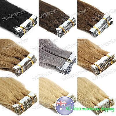 """16""""18""""20""""22"""" Seamless PU Weft Tape In Virgin Remy Human Hair Extensions AU Stock"""