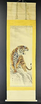 """JAPANESE HANGING SCROLL ART Painting """"Tiger"""" Asian antique  #E2784"""