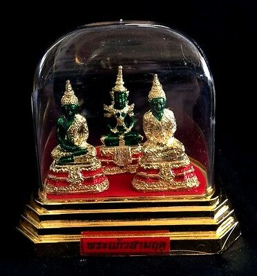 3.5 inch Tall 3 Thai Buddha  in Clear & Gold Color Case