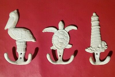 Nautical towel hooks, lighthouse, Turtle and pelican for hats, caps , purse ect,