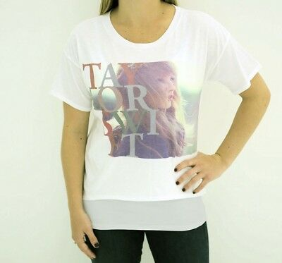 Taylor Swift RED Tour Top T SHIRT LADIES White Letters NEW NWT M Medium Official