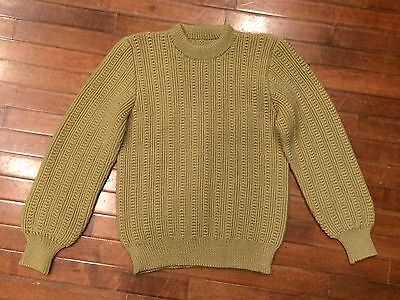 Vintage 40s Hand Knit Mens Small Heavy Wool Knitwear Fisherman Crewneck Sweater