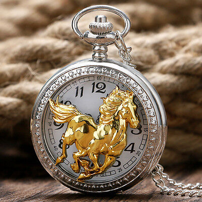 Western Jewelry Bright Silver/Gold Plated Horse Pocket Watch W/Chain