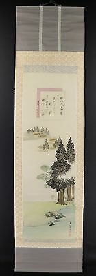 "JAPANESE HANGING SCROLL ART Painting ""Ise-jingu"" Asian antique  #E2698"