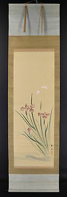"JAPANESE HANGING SCROLL ART Painting ""Flowers and Butterfly""  #E2598"