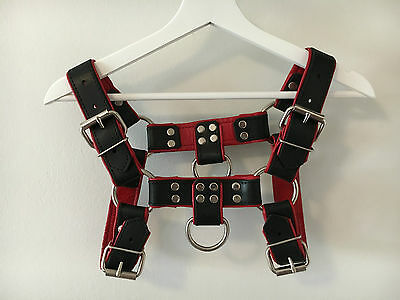 Mens BULLDOG Harness Leather  -  RED -  BRAND NEW
