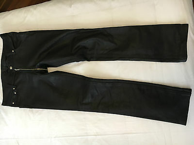 Mens Black Leather Pants with Zipper from front to back