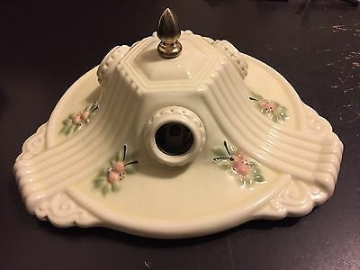 Antique Art Deco Porcelier Porcelain 3 Light Flush Ceiling Fixture Chandelier