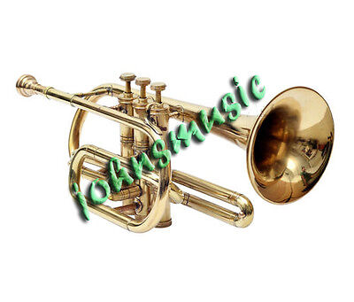 "New_Awesome* Cornet*l.brass.finish""b^flat:great Look&sound With Case,mp,nice"