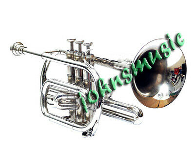 "New Cornet Chrome Finish_Bb""pitch*nice_Look:w/case-Mp- Mute Free Fast Shipping"