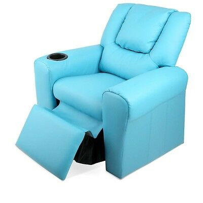 Kids Armchair Blue PU Leather Recliner Reclining Chair Seat TV Relaxing Sofa